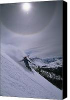 Image Setting Photo Canvas Prints - Snowboarding Down A Peak In Yosemite Canvas Print by Bill Hatcher