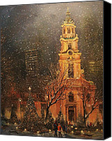 Tree Canvas Prints - Snowfall in Cathedral Square - Milwaukee Canvas Print by Tom Shropshire