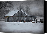 Sheep Canvas Prints - Snowflakes on the Farm Canvas Print by Robin-Lee Vieira