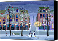 Christmas Cards Canvas Prints - Snowman Street Musicians Canvas Print by Thomas Griffin