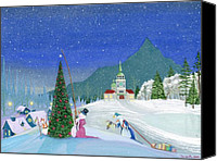 Winter Prints Painting Canvas Prints - Snowmen In Sitka Canvas Print by Thomas Griffin