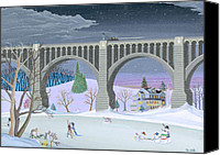 Winter Prints Painting Canvas Prints - Snowmen Next To Bridge Canvas Print by Thomas Griffin