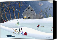 Winter Prints Painting Canvas Prints - Snowmen On Hockey Pond Canvas Print by Thomas Griffin