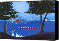 Winter Prints Painting Canvas Prints - Snowmen Rowing Canvas Print by Thomas Griffin