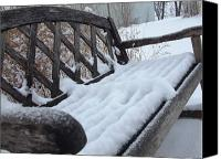 Ali Dover Canvas Prints - Snowy Bench Canvas Print by Ali Dover