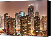 Chicago Canvas Prints - Snowy Chicago Skyline Canvas Print by Christopher.F Photography