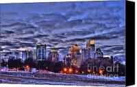 Photographers Atlanta Canvas Prints - Snowy City at Night Canvas Print by Corky Willis Atlanta Photography