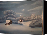 Snowy Night Painting Canvas Prints - Snowy Night Canvas Print by Thomas Hayes