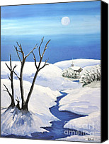 Snowy Night Painting Canvas Prints - Snowy Scene Canvas Print by Reb Frost