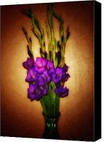 Purple Gladiolas Canvas Prints - So Glad Canvas Print by Keren  Candiotti