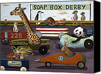 Easter Bunny Painting Canvas Prints - Soap Box Derby Canvas Print by Leah Saulnier The Painting Maniac