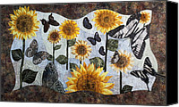 Painted Tapestries - Textiles Canvas Prints - Soaring Butterflies Canvas Print by Patty Caldwell