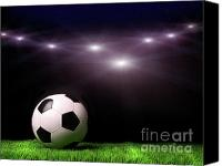 Goal Canvas Prints - Soccer ball on grass against black Canvas Print by Sandra Cunningham