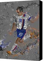 Stripes Mixed Media Canvas Prints - Soccer Canvas Print by Danielle Kasony