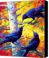 Crows Canvas Prints - Social Cub I Canvas Print by Marion Rose