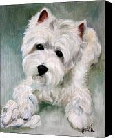 Westies Canvas Prints - Socks Canvas Print by Mary Sparrow Smith