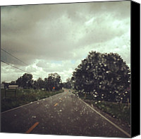 Rain Canvas Prints - Soft Rain Fell On My Windshield Today Canvas Print by Amber Flowers