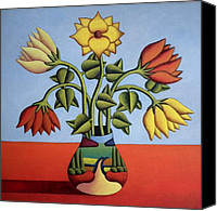 Kenny Canvas Prints - Softflowers with vase and landscape Canvas Print by Alan Kenny