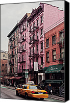 Nyc Fire Escapes Canvas Prints - SoHos pink house Canvas Print by Benjamin Matthijs