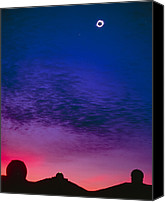 Mauna Kea Canvas Prints - Solar Eclipse Over Mauna Kea Observatory Canvas Print by Magrath Photography