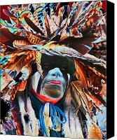 Pow Wow Canvas Prints - Solar Warrior Canvas Print by Terril Heilman