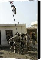 Flagpole Canvas Prints - Soldiers From The Iraqi Special Forces Canvas Print by Stocktrek Images