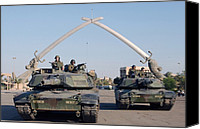 Second Gulf War Canvas Prints - Soldiers In An Army Abrams Tank Pose Canvas Print by Everett