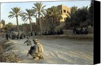 Operation Iraqi Freedom Canvas Prints - Soldiers Of The U.s. Army Provide Canvas Print by Stocktrek Images
