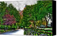 Park Benches Canvas Prints - Solitary Umbrella in Riverside Park Canvas Print by Randy Aveille