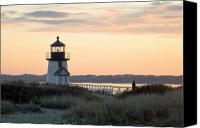 Lighthouse Canvas Prints - Solitude at Brant Point Light Nantucket Canvas Print by Henry Krauzyk