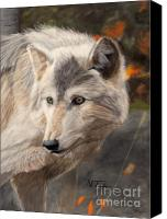 Wolf Pastels Canvas Prints - Solitude Canvas Print by Nichole Taylor