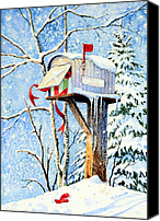 Christmas Cards Painting Canvas Prints - Somebody Was Snooping Canvas Print by Hanne Lore Koehler