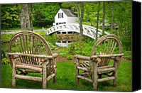 New England Canvas Prints - Somesville Maine - Arched bridge Canvas Print by Thomas Schoeller
