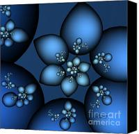 Fine Art Fractal Art Canvas Prints - Something Blue Canvas Print by Jutta Maria Pusl