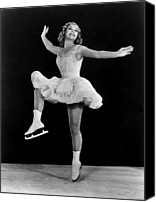 Skates Canvas Prints - Sonja Henie In The Hollywood Ice Revue Canvas Print by Everett