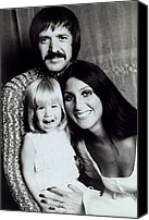 Bono Canvas Prints - Sonny & Cher With Daughter Chastity Canvas Print by Everett