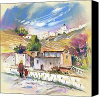 Almeria Travel Sketch Drawings Canvas Prints - Sorbas in Spain 01 Canvas Print by Miki De Goodaboom