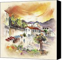 Almeria Travel Sketch Drawings Canvas Prints - Sorbas in Spain 02 Canvas Print by Miki De Goodaboom