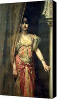 Orientalist Canvas Prints - Soudja Sari Canvas Print by Gaston Casimir Saint Pierre