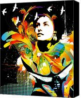 Woman Mixed Media Canvas Prints - Soul Explosion II Canvas Print by Chris Andruskiewicz