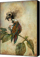 Dark Canvas Prints - Soul of a Bird Canvas Print by Caroline Jamhour