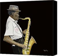 Saxaphone Painting Canvas Prints - Soulful Sax Canvas Print by Richard Roselli