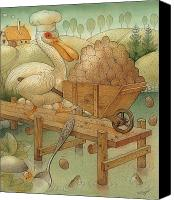 Pelican Canvas Prints - Soup in the Lake Canvas Print by Kestutis Kasparavicius