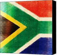 Patriotism Photo Canvas Prints - South Africa flag Canvas Print by Setsiri Silapasuwanchai