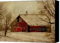 Wood Digital Art Canvas Prints - South Dakota Barn Canvas Print by Julie Hamilton