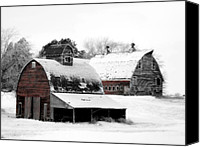 Barn Digital Art Canvas Prints - South Dakota Farm Canvas Print by Julie Hamilton