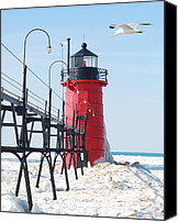 Winter Prints Canvas Prints - South Haven Pierhead Light Canvas Print by Michael Peychich