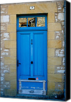 Number 7 Canvas Prints - South of France rustic blue door  Canvas Print by Georgia Fowler