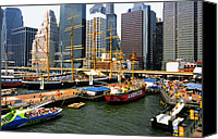 South Street Seaport Canvas Prints - South Street Seaport -NYC Canvas Print by Linda  Parker