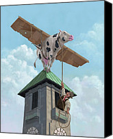 Cow Canvas Prints - Southampton Cow Flight Canvas Print by Martin Davey